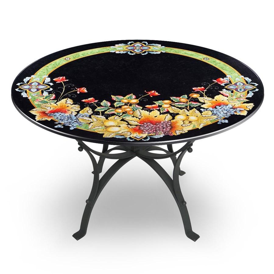 Tavolo circolare decoro frutta fondo nero base in ferro for Tavolo e sedie ferro battuto