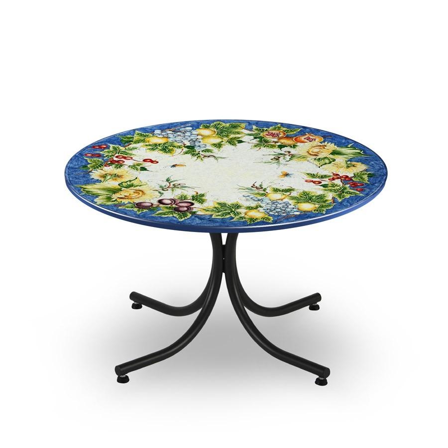 Tavolo circolare decoro frutta fiori fondo blu fantasia for Tavolo e sedie ferro battuto