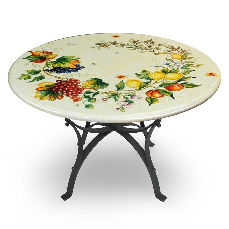 Tavolo circolare decoro rami di frutta con bordo bianco for Tavoli in ferro battuto