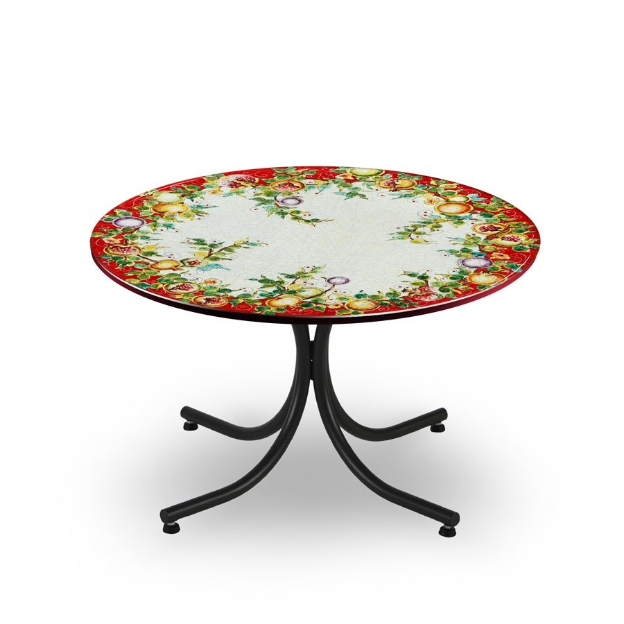 CIRCULAR TABLE, FRUIT RED FUD, METAL SUPPORT
