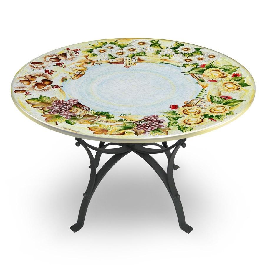 Tavolo circolare decoro quattro stagioni base in ferro for Tavolo e sedie ferro battuto