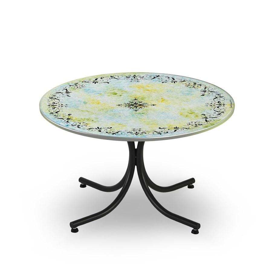 Tavolo circolare decoro elegante base in ferro battuto for Tavolo e sedie ferro battuto