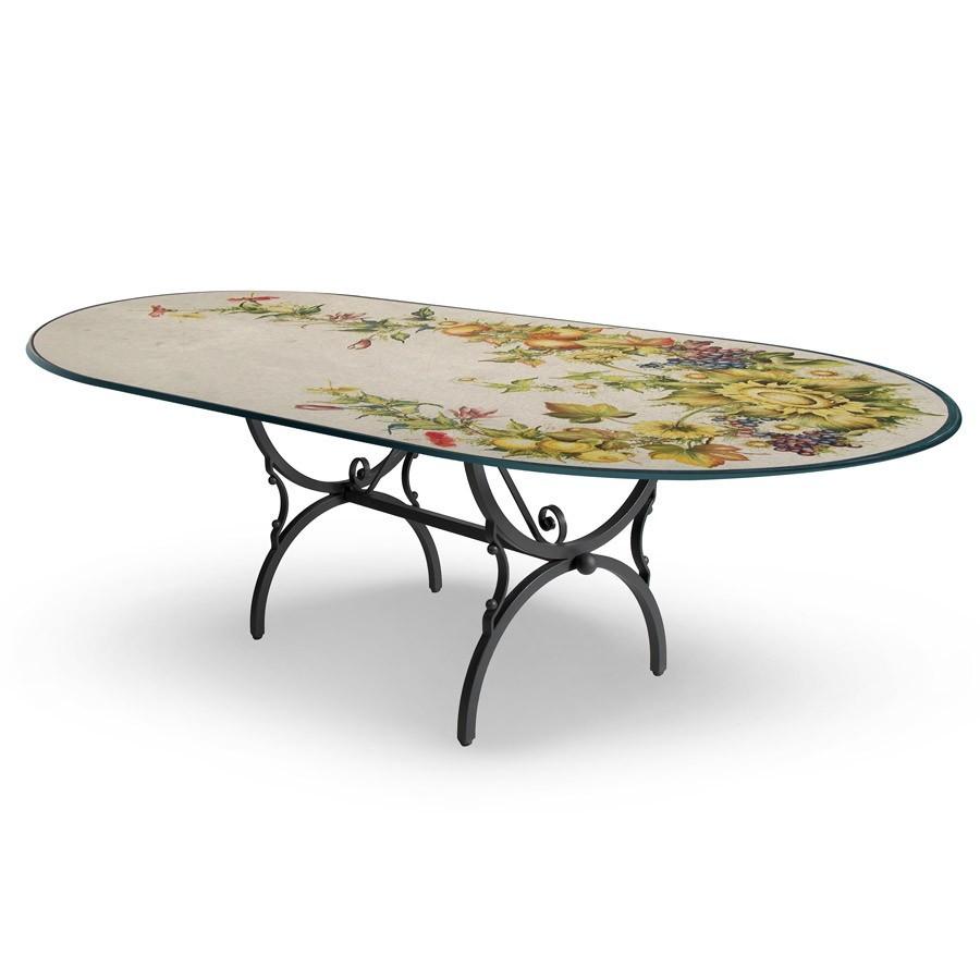Tavolo ovale decoro campagna base in ferro battuto for Tavolo e sedie ferro battuto