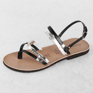 SANDAL VACCHETTA BLACK / ADIGE PLATINUM BOTTOM