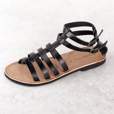 SANDAL VACCHETTA BLACK MICRO BOTTOM