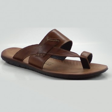 SANDALS, CALF COGNAC SOTT. LEATHER BOTTOM ATLAN
