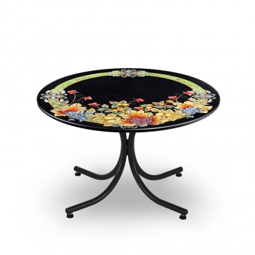 CIRCULAR TABLE, FRUIT DECORATION ON BLACK FUND,METAL SUPPORT