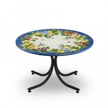 CIRCULAR TABLE, FRUIT FLOWERS, BLUE FUND, METAL SUPPORT