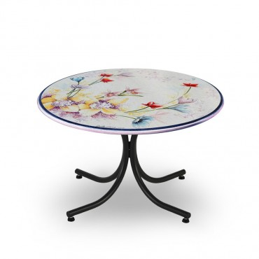 CIRCULAR TABLE, FANTASY, METAL SUPPORT