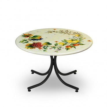 CIRCULAR TABLE, FRUITS BRANCHS WITH BOARD, WHAITE, METAL SUPPORT