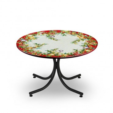 CIRCULAR TABLE, FRUIT RED FUD, METAL SUPPORT