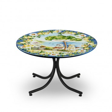 CIRCULAR TABLE, LANDSCAPE, METAL SUPPORT