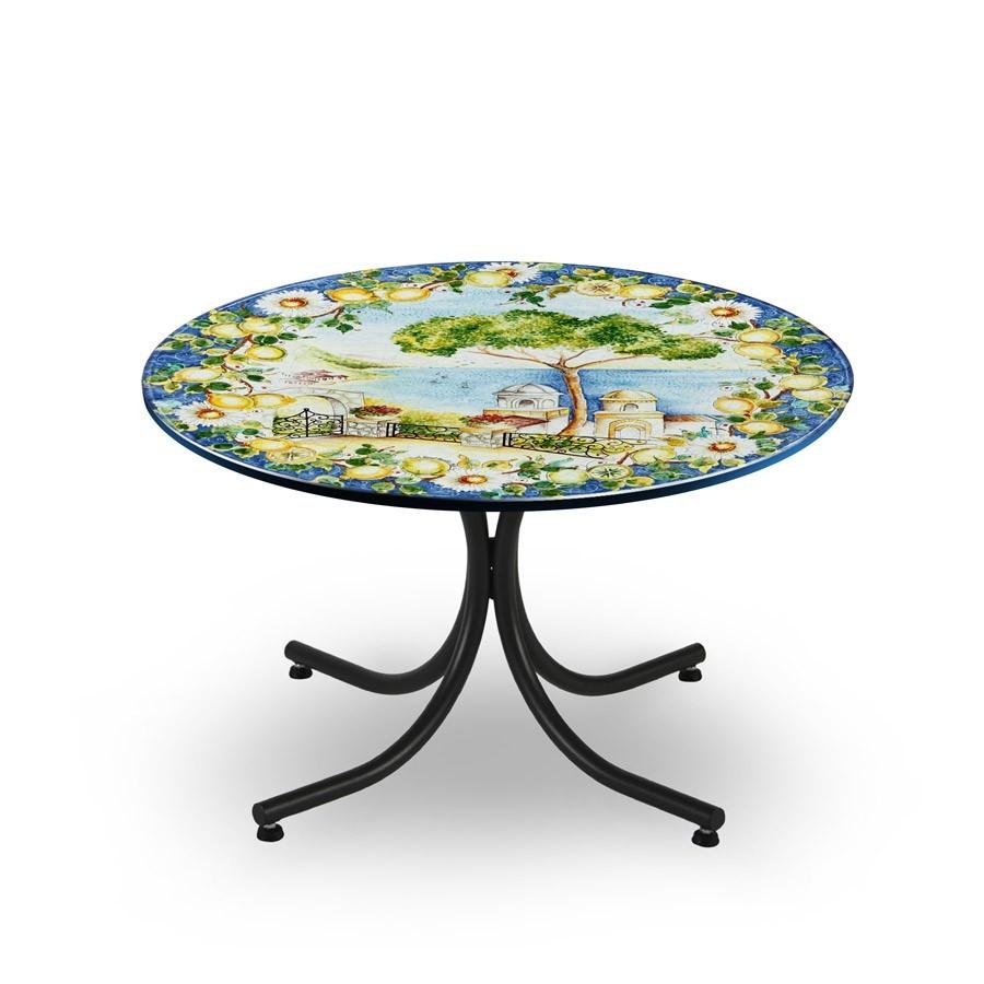 Tavolo circolare decoro paesaggio base in ferro battuto michelangelo art and craft assisi - Tavolo ferro battuto ...