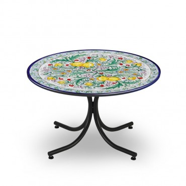 CIRCULAR TABLE, CITRUS FRUITS AND FLOWERS, METAL SUPPORT