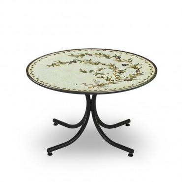 CIRCULAR TABLE, OLIVE BRANCH, METAL SUPPORT