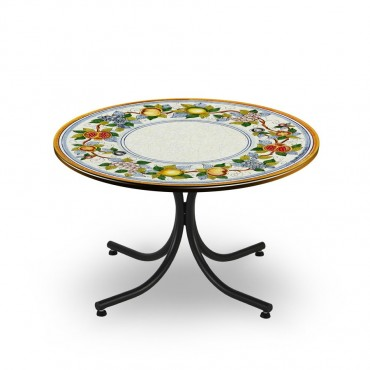 CIRCULAR TABLE, BORDER WITH FRUIT, METAL SUPPORT