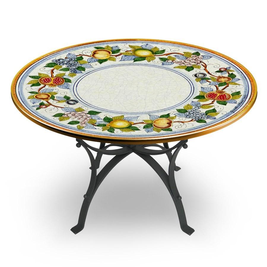 Tavolo circolare decoro bordo con frutta base in ferro battuto michelangelo art and craft - Tavolo ferro battuto ...