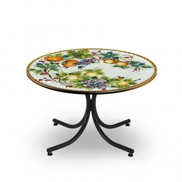 CIRCULAR TABLE, FRUITS BRANCHS DECORATED IN THE EDGE, METAL SUPPORT