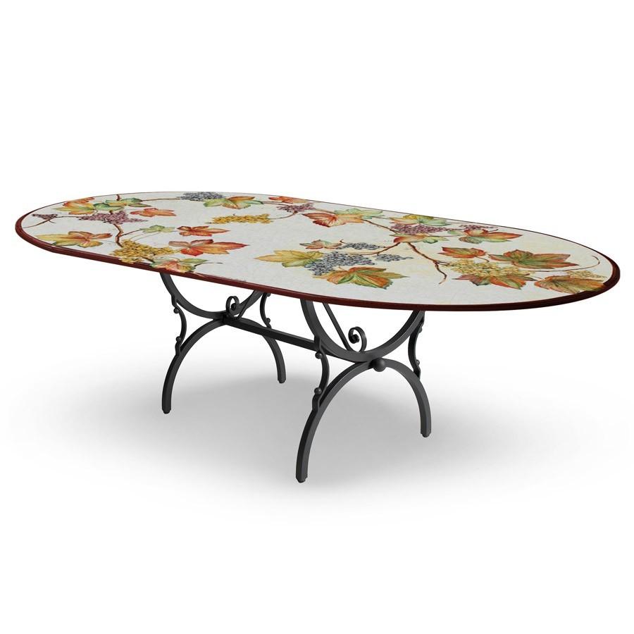Tavolo In Ferro Battuto E Ceramica.Tavolo Ovale Decoro Foglie Base In Ferro Battuto