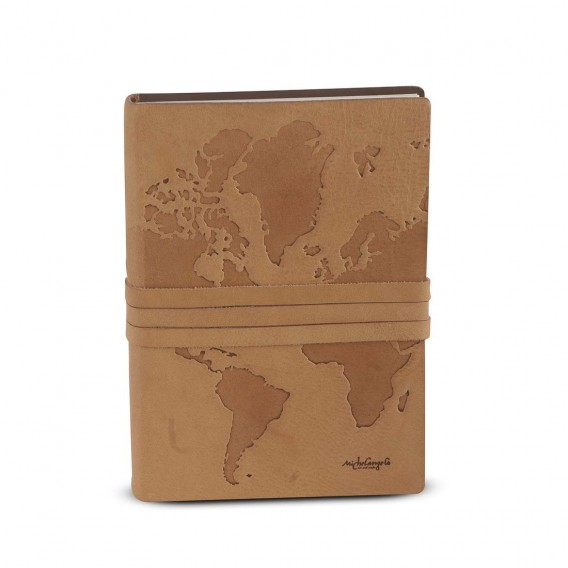 WORLD JOURNAL IN LEATHER 2.5x15 H21.5 cm, Inch .98x 5.9 H8.46