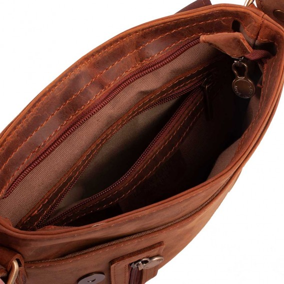 OLIMPIA MESSENGER BAG 1COMPARTMENT IN VINTAGE LEATHER 23x6 H25 cm