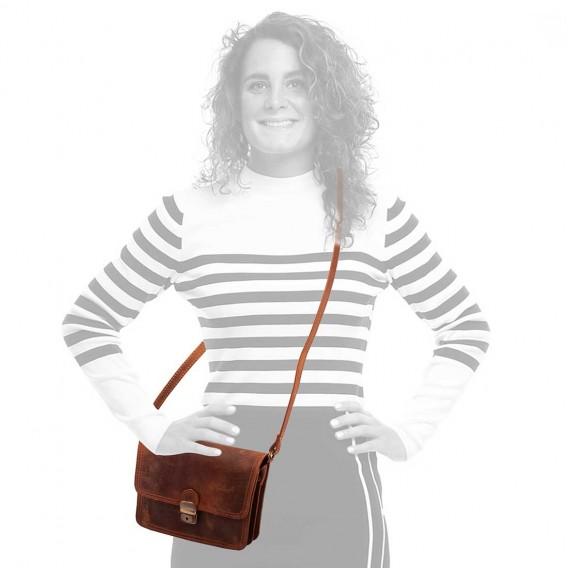 OLIMPIA WOMAN SHOULDER BAG 2 COMPARTMENTS IN VINTAGE 20x5.5 H17 cm