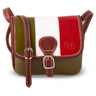 SMALL SHOULDER BAG 2 COMPARTMENTS IN LEATHER 10x16.5 H15.5 cm