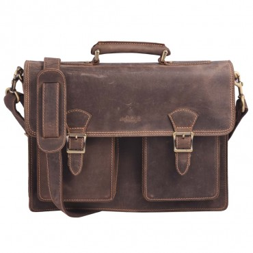 BUSINESS BRIEFCASE BARCELLONA, DARK BROWN